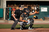 Down East Wood Ducks catcher Randy Florentino (23) frames a pitch as home plate umpire Matt Blackborow looks on during the game against the Charleston RiverDogs at Joseph P. Riley, Jr. Park on September 26, 2021 in Charleston, South Carolina. (Brian Westerholt/Four Seam Images)