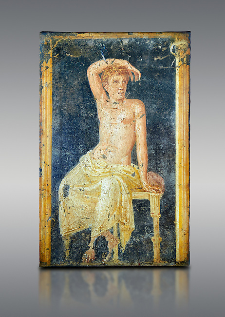 Detail of the Roman fresco wall painting of a young man resting from the  triclinium,  a formal dining room, of the Villa Arianna (Adriana), Stabiae (Stabia) near Pompeii , inv 9093, Naples National Archaeological Museum, grey background
