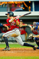 Nick Ahmed #22 of the Danville Braves follows through on his swing against the Burlington Royals at Burlington Athletic Park on August 14, 2011 in Burlington, North Carolina.  The Braves defeated the Royals 10-2 in a game called by rain in the bottom of the 8th inning.   (Brian Westerholt / Four Seam Images)