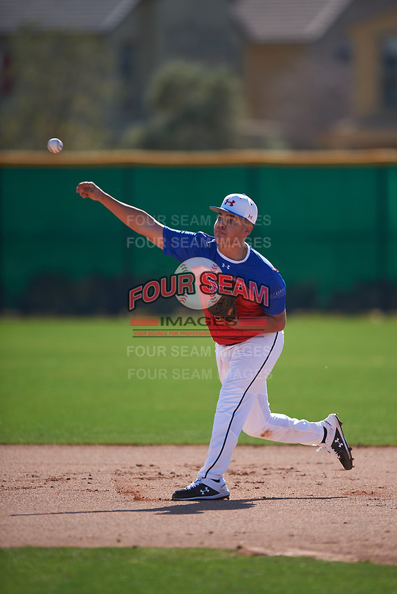 Kevin Sanchez during the Under Armour All-America Tournament powered by Baseball Factory on January 18, 2020 at Sloan Park in Mesa, Arizona.  (Zachary Lucy/Four Seam Images)