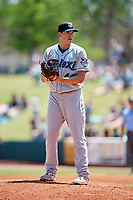 Biloxi Shuckers starting pitcher Cody Ponce (44) gets ready to deliver a pitch during a game against the Montgomery Biscuits on May 8, 2018 at Montgomery Riverwalk Stadium in Montgomery, Alabama.  Montgomery defeated Biloxi 10-5.  (Mike Janes/Four Seam Images)