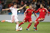 Spain's Santi Cazorla (c) and Jordi Alba (r) and Belarus' Timofei Kalachev during 15th UEFA European Championship Qualifying Round match. November 15,2014.(ALTERPHOTOS/Acero) /NortePhoto nortephoto@gmail.com