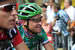 Thomas Voeckler (FRA) Team Europcar crosses the finish line at the end of Stage 2 of the 99th edition of the Tour de France 2012, running 207.5km from Vise to Tournai, Belgium. 2nd July 2012.<br /> (Photo by Eoin Clarke/NEWSFILE)