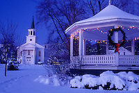 AJ5835, church, gazebo, chapel, Christmas, decorations, holiday, winter scene, snow, town, Vermont, The First Baptist Church and Gazebo on the Green are decorated for the Christmas holiday season on a snow covered night in the village of Bristol in Addison County in the state of Vermont.