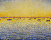 Setting Sun. Sardine Fishing. Adagio. Opus 221, 1891<br /> Paul Signac (1863–1935), oil on canvas
