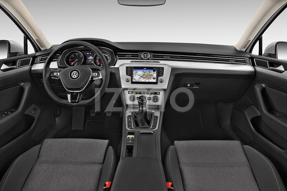 Stock photo of straight dashboard view of a 2015 Volkswagen Passat Comfort 5 Door Wagon Dashboard