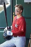 Steele Walker (10) of the Kannapolis Intimidators waits for his turn to bat during the game against the Greensboro Grasshoppers at Kannapolis Intimidators Stadium on August 5, 2018 in Kannapolis, North Carolina. The Grasshoppers defeated the Intimidators 2-1 in game one of a double-header.  (Brian Westerholt/Four Seam Images)