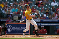 Peter Zimmermann (40) of the Missouri Tigers follows through on his swing against the Oklahoma Sooners in game four of the 2020 Shriners Hospitals for Children College Classic at Minute Maid Park on February 29, 2020 in Houston, Texas. The Tigers defeated the Sooners 8-7. (Brian Westerholt/Four Seam Images)