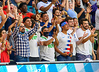 AUSTIN, TX - JULY 29: Fans cheer after a United States goal late in the second half during a game between Qatar and USMNT at Q2 Stadium on July 29, 2021 in Austin, Texas.