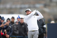 3rd October 2021; The Old Course, St Andrews Links, Fife, Scotland; European Tour, Alfred Dunhill Links Championship, Fourth round; Tyrrell Hatton of England tees off on the third hole during the final round of the Alfred Dunhill Links Championship on the Old Course, St Andrews