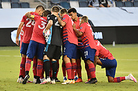 KANSAS CITY, KS - SEPTEMBER 02: FC Dallas players in a pre match huddle during a game between FC Dallas and Sporting Kansas City at Children's Mercy Park on September 02, 2020 in Kansas City, Kansas.