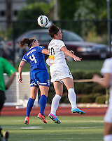 In a National Women's Soccer League Elite (NWSL) match, the Boston Breakers defeated the Western New York Flash  2-1, at Dilboy Stadium on May 5, 2013.  Boston Breakers defender Cat Whitehill (4) and Western New York Flash forward Abby Wambach (20) compete for a head ball.