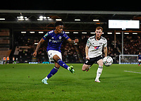 21st September 2021; Craven Cottage, Fulham, London, England; EFL Cup Football Fulham versus Leeds; Crysencio Summerville of Leeds United crossing the ball with Harrison Reed of Fulham looking on