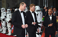 """Prince William and Prince Henry<br /> arriving for the """"Star Wars: The Last Jedi"""" film premiere at the Royal Albert Hall, London.<br /> <br /> <br /> ©Ash Knotek  D3363  12/12/2017"""