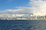 Seattle, Cruise ships bound for Alaska, via the Inside Passage, Seattle skyline,