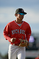 Batavia Muckdogs second baseman Gerardo Nunez (1) jogs back to the dugout during a game against the West Virginia Black Bears on June 19, 2018 at Dwyer Stadium in Batavia, New York.  West Virginia defeated Batavia 7-6.  (Mike Janes/Four Seam Images)