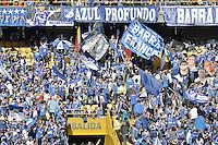 BOGOTÁ -COLOMBIA, 03-05-2014. Seguidores de Millonarios alientan a su equipo durante el encuentro de vuelta entre Millonarios y La Equidad por los cuartos de final de la Liga Postobón I 2014 jugado en el estadio Nemesio Camacho El Campín de la ciudad de Bogotá./ Supporters of Millonarios encourage their team during the second leg match between Millonarios and La Equidad for quarter finals of the Postobon League I 2014 played at Nemesio Camacho El Campin stadium in Bogotá city. Photo: VizzorImage/ Gabriel Aponte / Staff