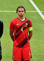 Lucas Noubi Ngnokam (4) of Belgium pictured during a soccer game between the national teams Under17 Youth teams of  Norway and Belgium on day 3 in the Qualifying round in group 3 on Tuesday 12 th of October 2020  in Tubize , Belgium . PHOTO SPORTPIX | DAVID CATRY