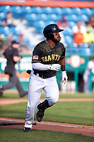 San Jose Giants center fielder Heliot Ramos (13) hustles down the first base line during a California League game against the Visalia Rawhide on April 13, 2019 at San Jose Municipal Stadium in San Jose, California. Visalia defeated San Jose 4-2. (Zachary Lucy/Four Seam Images)