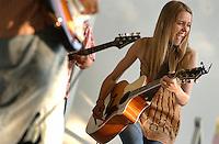 Singer, songwriter, Megan Slankard performing in her hometown Tracy, CA.