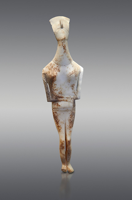 Female Cycladic statue figurine with folded arms of the Spedos and Dokathismata type. Early Cycladic Period II (2800-3200) from Amorgos. National Archaeological Museum, Athens. <br /> <br /> This Cycladic statue figurine is of the Spedos type standing on tip tie with bended knees and arms folded under the breasts with head raiised. This staue belongs to the Dokathismata type of Amorgos with an angular face, wide chest and slender outline.