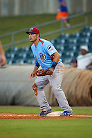 Tennessee Smokies first baseman Anthony Giansanti (9) waits for a throw during a game against the Montgomery Biscuits on May 25, 2015 at Riverwalk Stadium in Montgomery, Alabama.  Tennessee defeated Montgomery 6-3 as the game was called after eight innings due to rain.  (Mike Janes/Four Seam Images)