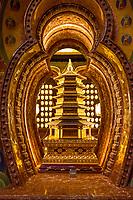 Nanjing, Jiangsu, China.  Miniature Pagoda in Decorative Niche in the Usnisa Hall, Usnisa Palace, Niushou Mountain.