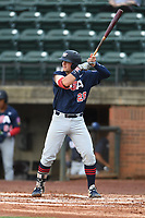 Jace Jung (28) (Texas Tech) of Team Stripes during a game against Team Stars on July 6, 2021 at Pioneer Park in Greeneville, Tennessee. (Tracy Proffitt/Four Seam Images)