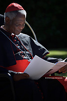 cardinal Peter Kodwo Appiah Turkson..Pope Francis attends the celebration of the Season of Creation with the planting of a tree and a dedication of the Synod for the Amazon to St. Francis, on the occasion of the feast of St. Francis of Assisi. in the Vatican gardens.Vatican City, October 4th, 2019.