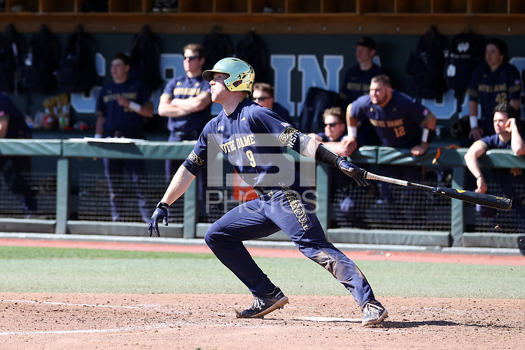 CHAPEL HILL, NC - MARCH 08: Jack Brannigan #9 of the University of Notre Dame hits the ball during a game between Notre Dame and North Carolina at Boshamer Stadium on March 08, 2020 in Chapel Hill, North Carolina.