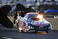 Jul, 9, 2011; Joliet, IL, USA: NHRA funny car driver Tony Pedregon backfires the supercharger during qualifying for the Route 66 Nationals at Route 66 Raceway. Mandatory Credit: Mark J. Rebilas-