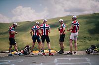 Norwegian fan up the Col de Val Louron-Azet waiting for the race to pass by<br /> <br /> Stage 17: Bagnères-de-Luchon > Saint-Lary-Soulan (65km)<br /> <br /> 105th Tour de France 2018<br /> ©kramon