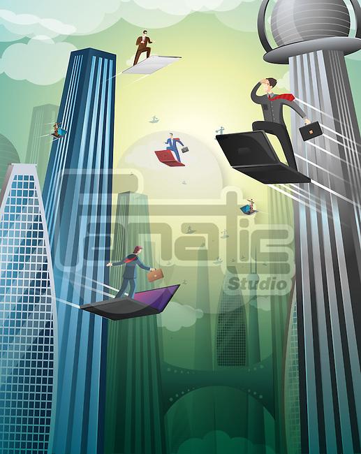 Illustration of an high tech business city