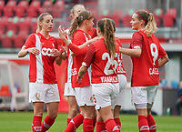 Standard players celebrate their team's goal during a female soccer game between Standard Femina de Liege and KRC Genk Ladies  on the third matchday of the 2020 - 2021 season of Belgian Womens Super League , Saturday 3 rd of October 2020  in Liege , Belgium . PHOTO SPORTPIX.BE   SPP   SEVIL OKTEM