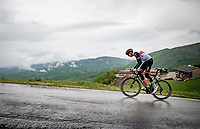 stage leader (and eventual winner) Joe Dombrowski (USA/UAE-Emirates) solo's up the Colle Passerino (3km from the finish)<br /> <br /> 104th Giro d'Italia 2021 (2.UWT)<br /> Stage 4 from Piacenza to Sestola (187km)<br /> <br /> ©kramon