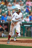 Heliot Ramos (21) of San Juan, Puerto Rico runs to first after hitting a home run during the Under Armour All-American Game on July 23, 2016 at Wrigley Field in Chicago, Illinois.  (Mike Janes/Four Seam Images)