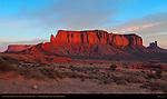 Sentinel Mesa at Sunrise, Monument Valley Navajo Tribal Park, Navajo Nation Reservation, Utah/Arizona Border