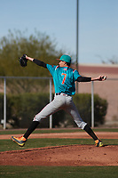 Miguel Angel Baez (7) of Florida Preparatory Academy in Republica Dominicana, Florida during the Baseball Factory All-America Pre-Season Tournament, powered by Under Armour, on January 14, 2018 at Sloan Park Complex in Mesa, Arizona.  (Freek Bouw/Four Seam Images)
