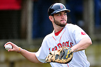 Portland Sea Dogs catcher Blake Swihart #5 prior to a game versus the Trenton Thunder at Hadlock Field in Portland, Maine on May 17, 2014. (Ken Babbitt/Four Seam Images)