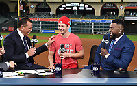 HOUSTON - OCTOBER 29: Alex Rodriguez, Nationals shortstop Trea Turner, and David Ortiz at World Series Game 6: Washington Nationals at Houston Astros on Fox Sports at Minute Maid Park on October 29, 2019 in Houston, Texas. (Photo by Frank Micelotta/Fox Sports/PictureGroup)