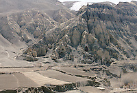 The cliff of the 6 meters Kakrak Buddha statue in 1996..In the Kakrak Valley, 2 kilometres south of the giant Bamiyan Buddha cliff , there is a 6 meters standing Buddha in a niche which was discovered in 1930. The Buddha niche is also surrounded by caves but the paintings were painstakingly removed by French archaeologists..Some scholars consider these mystic diagrams from Kakrak to be the earliest specimens of the type of cosmic Mandala found today in Nepal and Tibet.