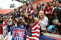 Houston, TX - Sunday April 8, 2018: USA fans during an International friendly match versus the women's National teams of the United States (USA) and Mexico (MEX) at BBVA Compass Stadium.