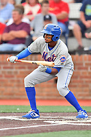 Kingsport Mets Jhoander Saez (10) squares to bunt during a game against the Johnson City Cardinals at TVA Credit Union Ballpark on June 28, 2019 in Johnson City, Tennessee. The Cardinals defeated the Mets 7-4. (Tony Farlow/Four Seam Images)