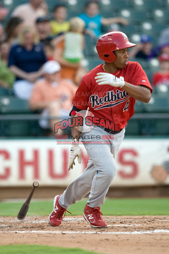 Memphis Redbirds outfielder Adron Chambers #4 at bat against the Round Rock Express at the Dell Diamond on July 10, 2011 in Round Rock, Texas.  Memphis defeated Round Rock 10-9.  (Andrew Woolley / Four Seam Images)