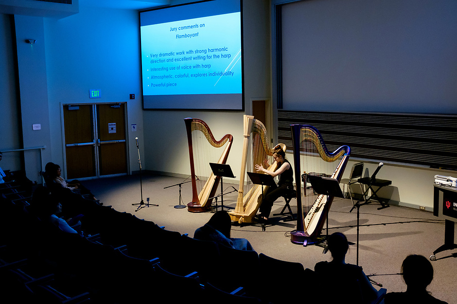 Harpist Olivia Castor performs during the Composition Forum at the 11th USA International Harp Competition at Indiana University in Bloomington, Indiana on Monday, July 8, 2019. (Photo by James Brosher)