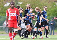 Marie Minnaert (13) of Club Brugge pictured celebrating with teammates after scoring a goal during a female soccer game between Club Brugge Dames YLA and Standard Femine de Liege on the seventh matchday in Play-Off 1 of the 2020 - 2021 season of Belgian Scooore Womens Super League , saturday 15 May 2021  in Brugge , Belgium . PHOTO SPORTPIX.BE   SPP   DAVID CATRY