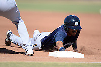 Milwaukee Brewers outfielder Omar Garcia (36) dives back to first on a pick off attempt during an Instructional League game against the Los Angeles Angels on October 11, 2013 at Tempe Diablo Stadium Complex in Tempe, Arizona.  (Mike Janes/Four Seam Images)