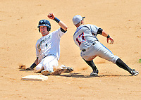 15 July 2010: Vermont Lake Monsters' infielder Jason Martinson steals second base against the Aberdeen IronBirds at Centennial Field in Burlington, Vermont. The Lake Monsters rallied in the bottom of the 9th inning to defeat the IronBirds 7-6 notching their league leading 20th win of the 2010 NY Penn League season. Mandatory Credit: Ed Wolfstein Photo