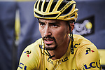 Race leader Julian Alaphilippe (FRA) Deceuninck-Quick Step retains the Yellow Jersey finishing in 14th place at the end of Stage 18 of the 2019 Tour de France running 208km from Embrun to Valloire, France. 25th July 2019.<br /> Picture: ASO/Pauline Ballet | Cyclefile<br /> All photos usage must carry mandatory copyright credit (© Cyclefile | ASO/Pauline Ballet)