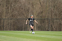 LOUISVILLE, KY - MARCH 13: Erin Simon #3 of Racing Louisville FC dribbles the ball during a game between West Virginia University and Racing Louisville FC at Thurman Hutchins Park on March 13, 2021 in Louisville, Kentucky.